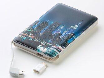 モバイルバッテリー(都会の夜景)〔ケーブル内蔵・5000mAh〕【ギフト対応】<立体造形デザイン>の画像