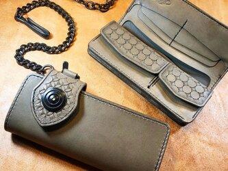 レザーロングウォレット イタリア産高級レザー - グレー+ダールブラックの画像