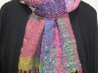 お気に入りの糸たちの手織りマフラー f9の画像