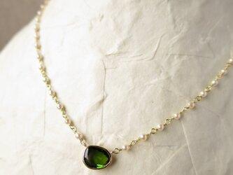 K18 Green tourmaline・あこやバロックパール Necklaceの画像