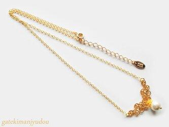透かしとコットンパールのネックレス【長さ変更可】の画像
