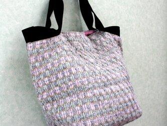 北欧手織りウールトートバッグ(グリーン×ピンク)の画像