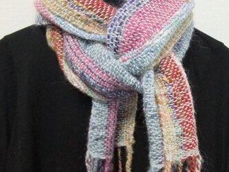 お気に入りの糸たちの手織りマフラー f3の画像