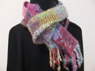 お気に入りの糸たちの手織りマフラー f4の画像