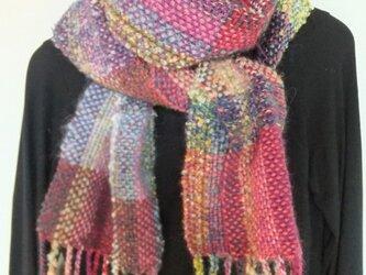 お気に入りの糸たちの手織りマフラーf8の画像