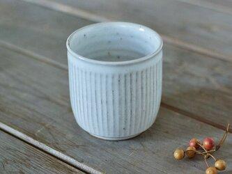 陶器の筒湯のみ(白/鎬)の画像