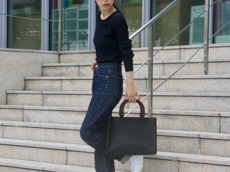 [国産牛本革]レザーバッグ NLW(ブラック)SToLY Leather Bag/ストーリー レザーハンドバッグの画像