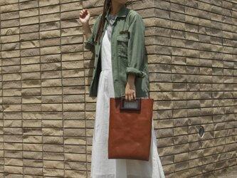 [国産牛本革]レザーバッグ NLWG(ブラウン)SToLY Leather Bag/ストーリー レザーハンドバッグの画像