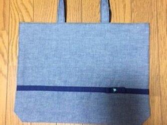 リボンとお花のシンプルなレッスンバッグ★濃紺色の画像