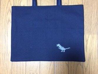 紺色のレッスンバッグ*クロスステッチ刺繍:恐竜の画像