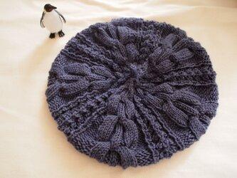 模様編みのベレー風どんぐり帽子【パーブル】の画像