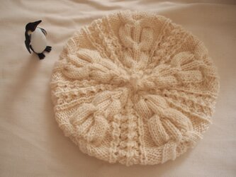 模様編みのベレー風どんぐり帽子【ホワイト】の画像