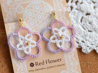 キラキラ輝く ピンクのお花 樹脂イヤリング ノンホールピアス レース編み タティングレースの画像