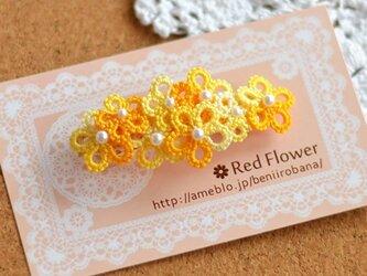 *送料無料* レース編み タティングレース オレンジとホワイトの花束バレッタの画像
