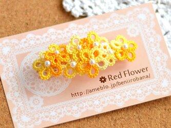 【受注製作】花束バレッタ(オレンジとホワイトMIX)レース編み タティングレースの画像