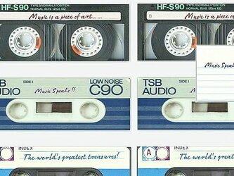 「音楽は語る」アートメッセージカード10枚セット ヴィンテージカセットテープの画像