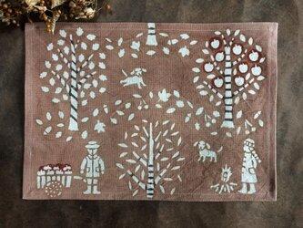 柿渋染めランチョンマット 秋の山歩きの画像