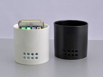 スマートフォンスピーカー スマホカップ ベース 白の画像
