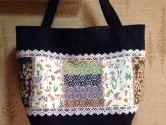 リバティ&PJC刺繍帆布 パッチワークトートバッグの画像