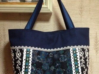 PJC刺繍帆布 パッチワークトートバッグの画像
