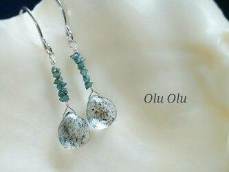 モスアクアマリン&ブルーダイヤモンドのピアスの画像