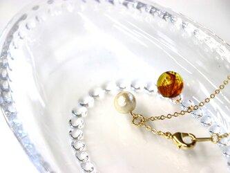 8㎜ コットンパールの一粒ネックレスの画像