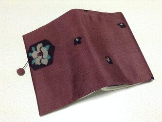 ★再販★    356   着物リメイク    銘仙    亀甲に花模様     文庫サイズブックカバーの画像
