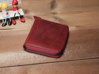 """""""BASIC""""ラウンドファスナーミドル<RED> 送料無料☆ラッピング無料☆ 二つ折り財布の画像"""