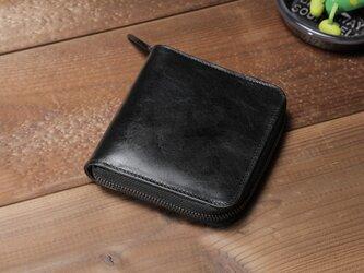 """☆送料無料☆""""BASIC""""ラウンドファスナーミドル<BLACK>☆ラッピング無料☆ 二つ折り財布の画像"""