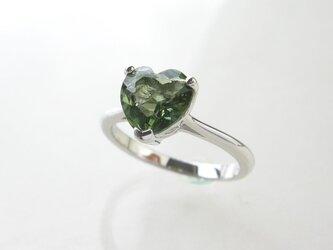 SV925 モルダバイト ハート リング 指輪 8.5号 天然石【送料無料】の画像