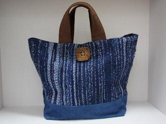 浴衣と柔道着の裂き織り藍染めバッグの画像