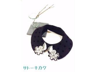 つけ襟☆ドットフロッキー ×刺繍レース【送料無料】の画像