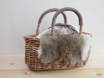 ファー 冬の籠バッグ(ラビット)#1の画像