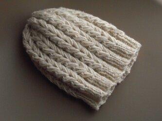 大きな編み目の帽子/ホワイトmixの画像