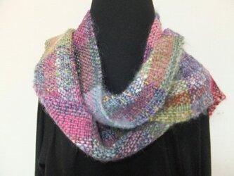 お気に入りの糸たちの手織りマフラーf6(ロング)の画像