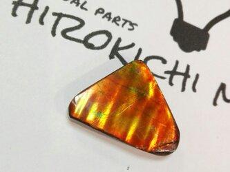 化石が産んだ宝石 カナディアンアンモライト ルース オーロラオレンジ  22x15.5mmの画像