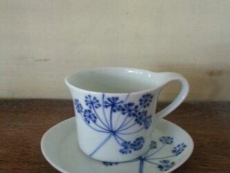 【ご予約】青いレースフラワーのカップとお皿の画像