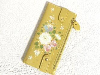 花ペイント カードケース(イエロー)_ホワイトローズ【受注制作】の画像