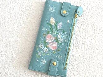 花ペイント カードケース(ブルー)_バラとストック受注制作】の画像