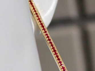 Square bar etenity pierce / K18ct Yellow gold . Rubyの画像