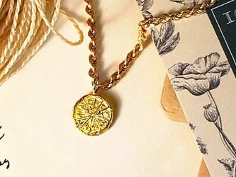 K24,PT900オレンジスライス彫刻コイン ダイヤモンド ペンダントの画像