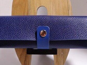 シンプルレザーペンケース ネイビーブルーのシュリンクレザーの画像