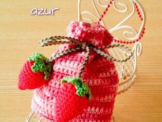 小さな巾着袋・リボン結びタイプ(ボールチェーン付き)の画像