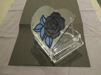 青い薔薇★ピアノのアクセサリーケース★グラスアート作品の画像