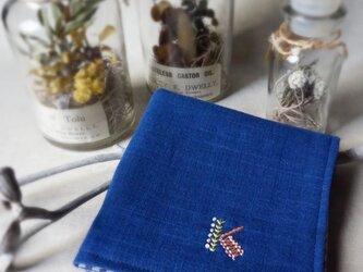 手刺繍入り4重ガーゼハンカチ「イニシャルK」[受注制作]の画像