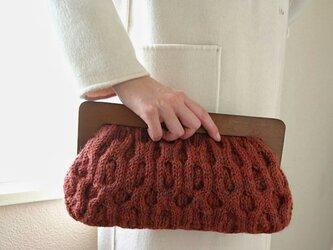 木製がまぐち アランニットバッグ *kurumi・brick*の画像
