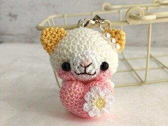 【受注生産】ピンクハート・濃黄色の耳・白ネコさん*鈴付きイヤホンジャックストラップの画像
