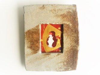 「起土人形・猿」 日本画【陶器の額縁入り】の画像