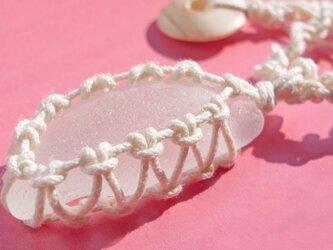 sea glass necklace  white #3の画像