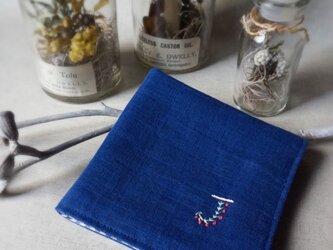 手刺繍入り4重ガーゼハンカチ「イニシャル/J」[受注制作]の画像